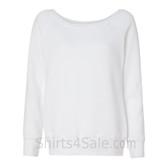 Bella Women's Triblend Sponge Fleece Slouchy Wideneck Sweatshirt(White)