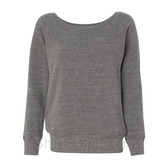 Bella Women's Triblend Sponge Fleece Slouchy Wideneck Sweatshirt(Grey)