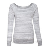 Bella Women's Triblend Sponge Fleece Slouchy Wideneck Sweatshirt(Light Grey Mar)