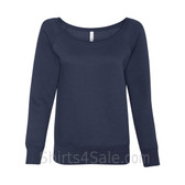 Bella Women's Triblend Sponge Fleece Slouchy Wideneck Sweatshirt(Navy)