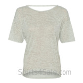 Oatmeal Deep-Scoop Back Ladies' Burnout Tee