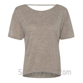 Light Brown Deep-Scoop Back Ladies' Burnout Tee