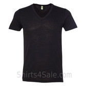 Black V-Neck Unisex Eco(Organic Cotton, Recycled Polyester) Tee