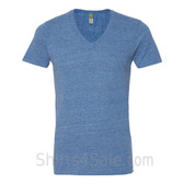 Blue V-Neck Unisex Eco(Organic Cotton, Recycled Polyester) Tee