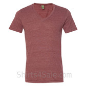 Burgundy V-Neck Unisex Eco(Organic Cotton, Recycled Polyester) Tee
