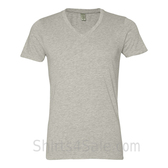 Light Gray V-Neck Unisex Eco(Organic Cotton, Recycled Polyester) Tee
