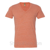 Orange V-Neck Unisex Eco(Organic Cotton, Recycled Polyester) Tee