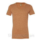 Bright Brown V-Neck Unisex Eco(Organic Cotton, Recycled Polyester) Tee