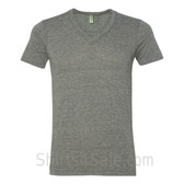 Gray V-Neck Unisex Eco(Organic Cotton, Recycled Polyester) Tee