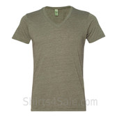 Military Gray V-Neck Unisex Eco(Organic Cotton, Recycled Polyester) Tee