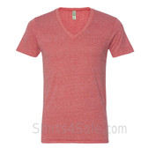 Red V-Neck Unisex Eco(Organic Cotton, Recycled Polyester) Tee