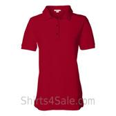 Red Womens Pique Knit Sport Shirt