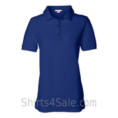Blue Womens Pique Knit Sport Shirt