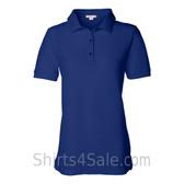 Blue Womens Pique Knit Sport Shirt