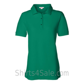 Green Womens Pique Knit Sport Shirt