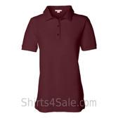 Maroon Womens Pique Knit Sport Shirt
