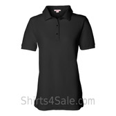 Black Womens Pique Knit Sport Shirt
