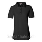 Black Womens Pique Knit Sport Shirt