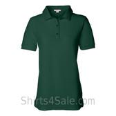 Dark Green Womens Pique Knit Sport Shirt