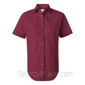 Maroon Women's Stain Resistant Short Sleeve Shirt