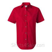 Red Women's Stain Resistant Short Sleeve Shirt