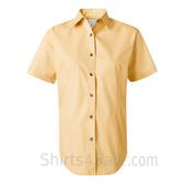 Light Yellow Women's Stain Resistant Short Sleeve Shirt