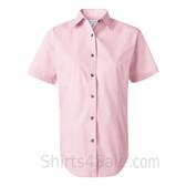 Light Pink Women's Stain Resistant Short Sleeve Shirt