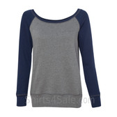Bella Women's Triblend Sponge Fleece Slouchy Wideneck Sweatshirt(Grey/ Navy)
