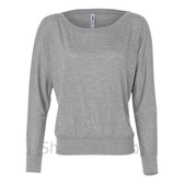 Bella 8850 Ladies' Flowy Off-Shoulder Long-Sleeve Dolman Top Shirt(Light Grey)