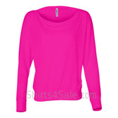 Bella 8850 Ladies' Flowy Off-Shoulder Long-Sleeve Dolman Top Shirt(Neon Pink)