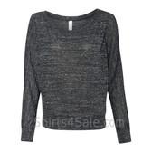 Bella 8850 Ladies' Flowy Off-Shoulder Long-Sleeve Dolman Top Shirt(Black Marble)
