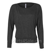 Bella 8850 Ladies' Flowy Off-Shoulder Long-Sleeve Dolman Top Shirt(Dark Grey)