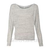 Bella 8850 Ladies' Flowy Off-Shoulder Long-Sleeve Dolman Top Shirt(White Marble)