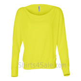 Bella 8850 Ladies' Flowy Off-Shoulder Long-Sleeve Dolman Top Shirt(Neon Yellow)