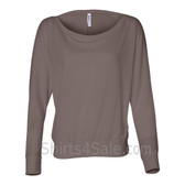 Bella 8850 Ladies' Flowy Off-Shoulder Long-Sleeve Dolman Top Shirt(Pebble Brown)