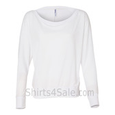 Bella 8850 Ladies' Flowy Off-Shoulder Long-Sleeve Dolman Top Shirt(White)