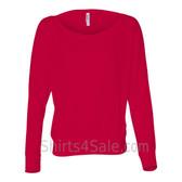 Bella 8850 Ladies' Flowy Off-Shoulder Long-Sleeve Dolman Top Shirt(Red)