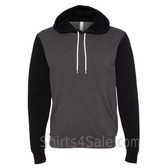 Dark Grey Heather Black  Unisex Poly/Cotton Hooded Pullover Sweatshirt
