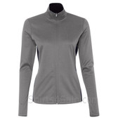 Stone Grey Ladies' Colorblocked Performance Full-Zip Sweatshirt