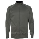 Stone Grey Performance Colorblock Full-Zip Jacket