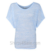 Ladies' Flowy Draped Sleeve Dolman Tee - Blue Marble