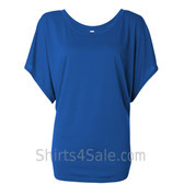 Ladies' Flowy Draped Sleeve Dolman Tee - Blue