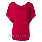 Ladies' Flowy Draped Sleeve Dolman Tee - Red