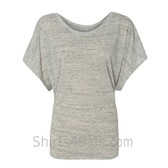 Ladies' Flowy Draped Sleeve Dolman Tee - White Marble