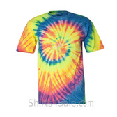 Bright Rainbow Tie-Dyed Short Sleeve T-Shirt