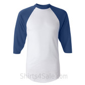 Augusta Sportswear White / Blue Adult's Three-Quarter Baseball Jersey