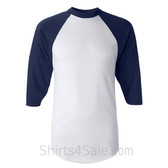 Augusta Sportswear White / Navy Adult's Three-Quarter Baseball Jersey