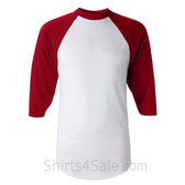 Augusta Sportswear White / Red Adult's Three-Quarter Baseball Jersey