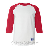 Champion T137 Cotton Tagless Raglan Baseball T-Shirt - White/ Scarlet