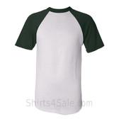 Augusta Sportswear White / Dark Green Short Sleeve Raglan Baseball Jersey